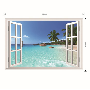 WOOPOWER 3D Windows Seaview Hawaii Dimensional Wall Sticker Art Murals Wallpaper For Bedroom Home Decal 60x90cm
