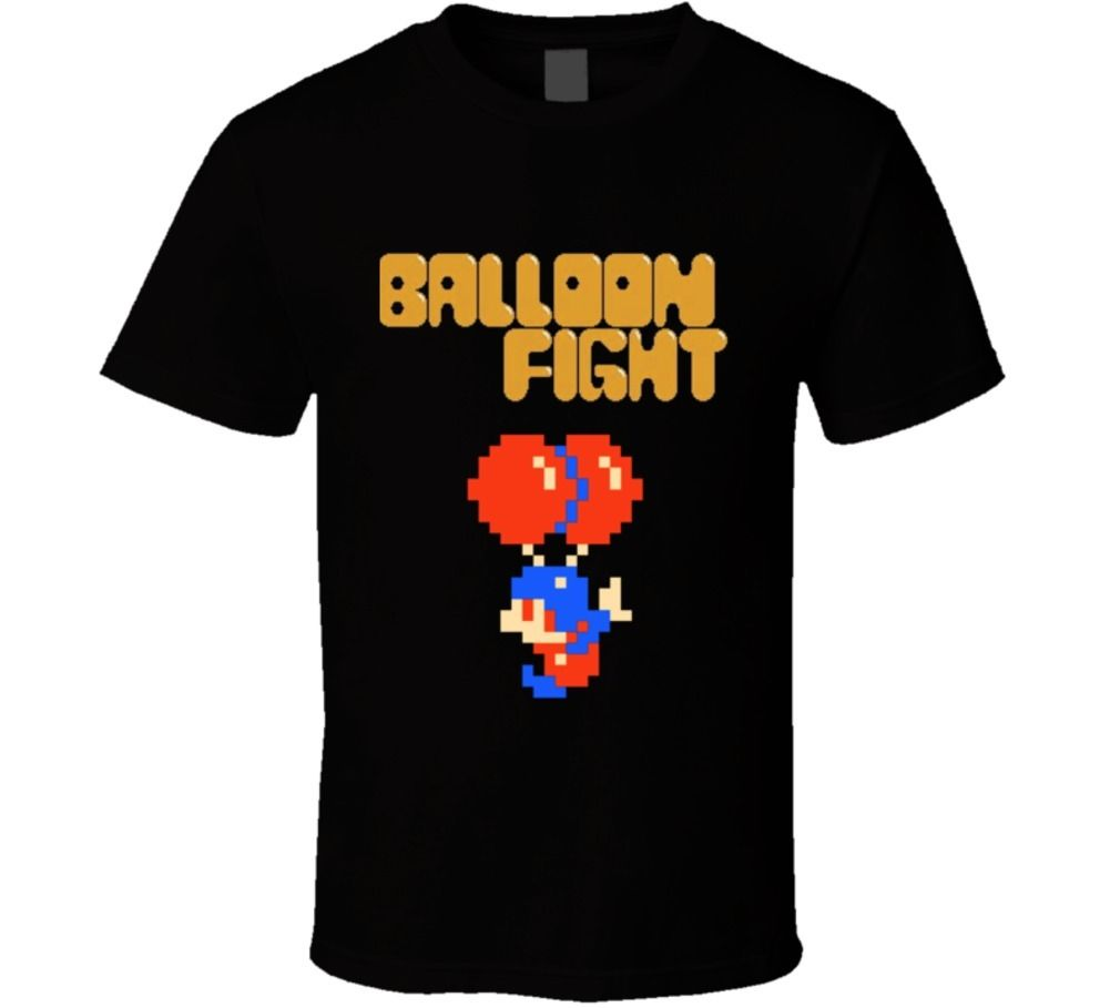 Balloon Fight Black Box Nes Video Game T Shirt Streetwear Funny Print Clothing Hip-Tope Mans T-Shirt Tops Tees