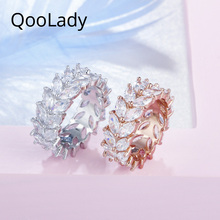 QooLady Gorgeous Marquise Cut Cubic Zirconia Crystal Rose Gold Double Rows Leaf Rings for Women Fashion Jewelry Accessories F005