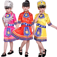 National dance wear Outfits girls Miao Dancing clothing Kids chinese Folk dance costumes children festive Stage wear costumes
