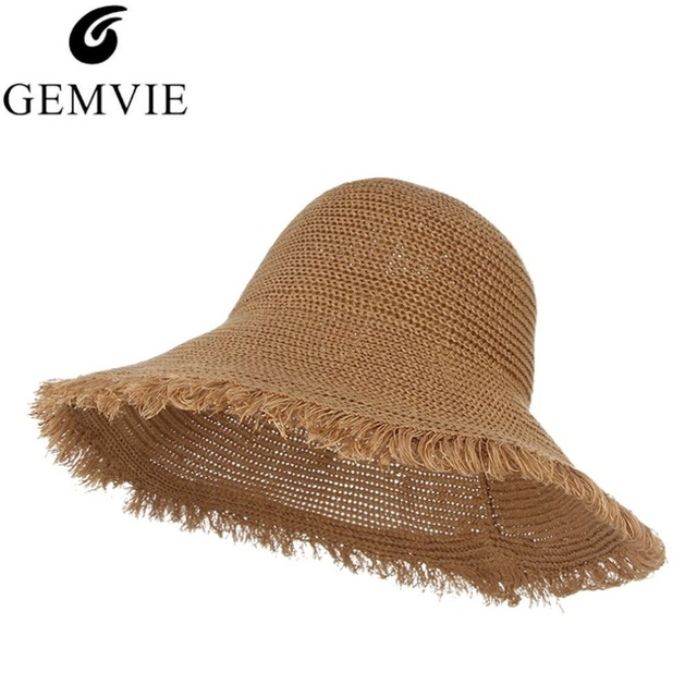 3331d32c68b Elegant Lady Beach Cap Foldable Floppy Wide Brim Straw Hat Handmade Crochet Sun  Caps Summer Bucket Hats For Women