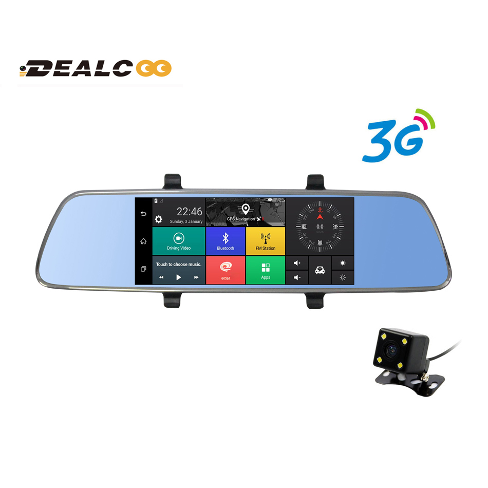 Aliexpress com buy dealcoo 7 3g car camera dvr gps navigation bluetooth dual lens rearview mirror video recorder fhd 1080p mirror dash cam russian from