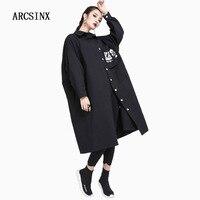 ARCSINX Oversize Shirt Dress Women Large Size 8XL 7XL 6XL 5XL 4XL 3XL Black White Women