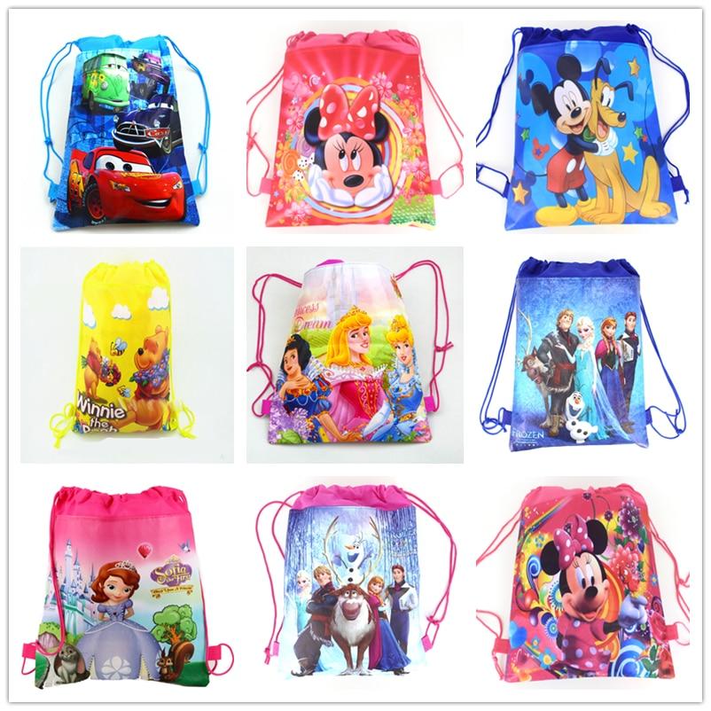 1Pcs Disney Cars Mickey Minnie Coco Sofia Frozen Six Princess Winnie Non-woven Shopping Bag Drawstring Backpack party supplies