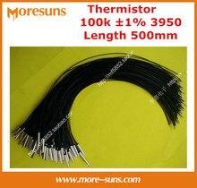 Free shipping 50pcs/lot NTC temperature sensor 100K 1% 3950 copper shell 5*25 200C L=500mm NTC Thermistor