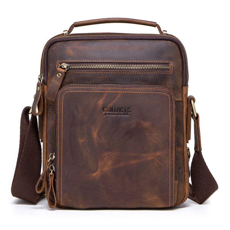 028cae54d9e CONTACT'S 100% genuine leather men shoulder bag crossbody bags for men high  quality bolsas fashion