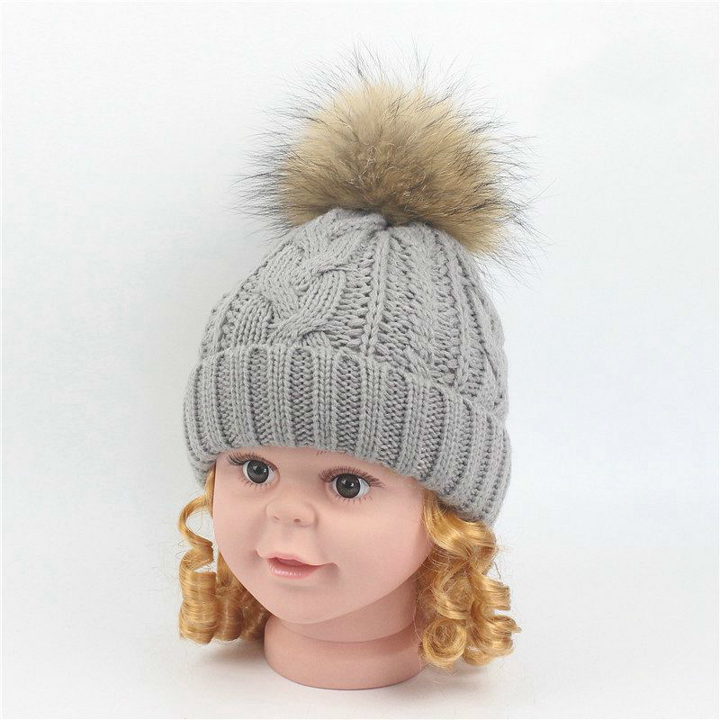 2017 Autumn Winter skullies beanies knitted warm caps Children Raccoon Hair Bulb Hemp Flowers Hats Lovely Cap Wool Warm Hat 2017 skullies