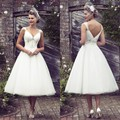 Vestido De Noiva Vestidos de Casamento Do Comprimento Do Chá Do Vintage 2016 Cap Pérolas da luva Frisada Praia Vestido de Noiva Sexy Costas Abertas Personalizado feito