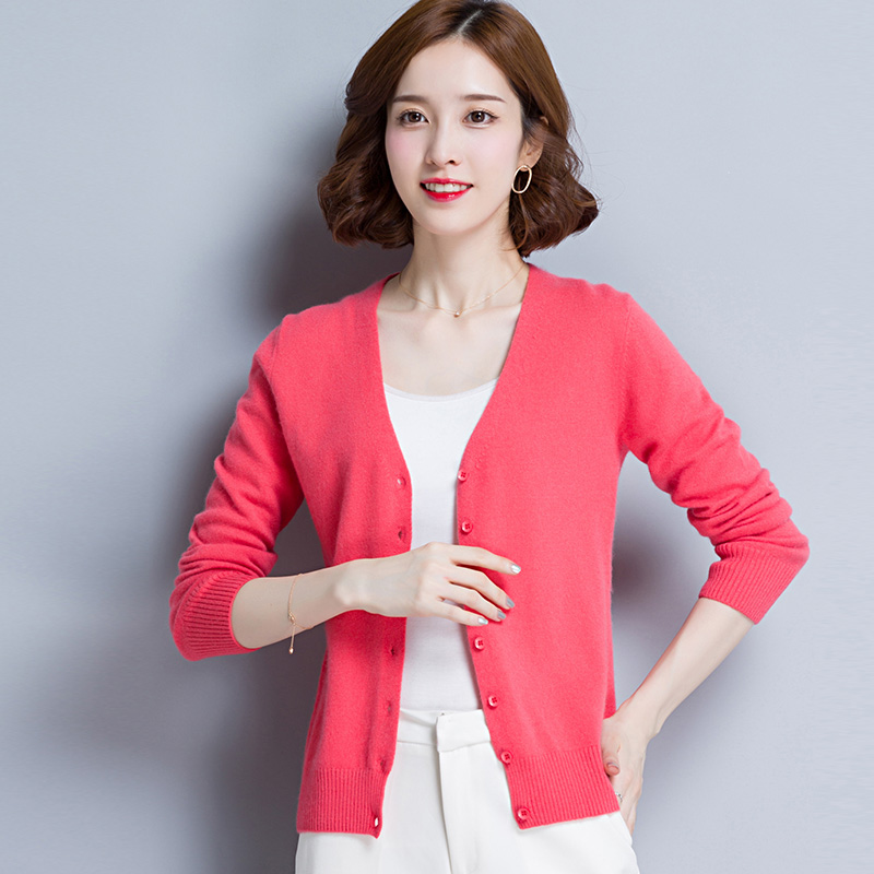 Women Cardigans 100% Pure Cashmere Knitting Jackets High Quality V neck Sweaters Woman Standard Clothes Ladies Spring Knitwear