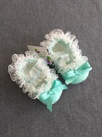 Baby Girl Green Lace Christening Shoes Satin Baptism Wedding Flower Girl Newest