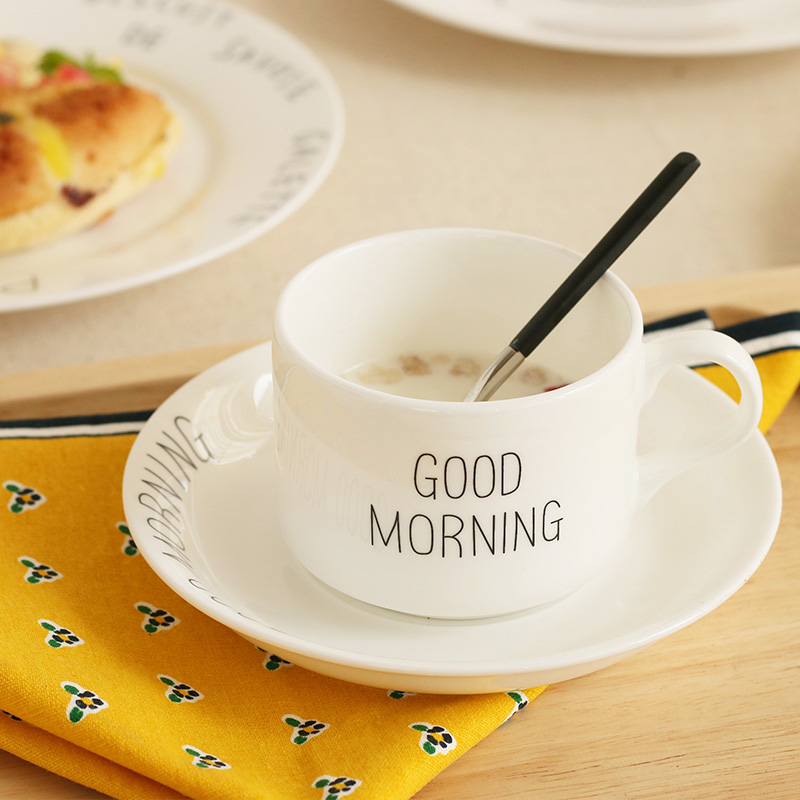 Good Morning Letter Printed Bone China Ceramic Mugs With Handgrip With Tray Brief Breakfast Tea 1 Cup + 1 Tray White Simple