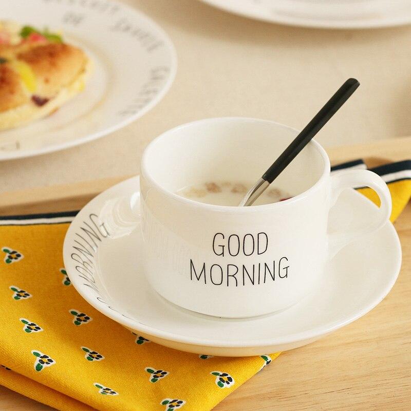 Us 1971 10 Offguten Morgen Brief Gedruckt Bone China Keramik Becher Mit Handgriff Mit Tablett Kurze Frühstück Tee 1 Tasse 1 Fach Weiß