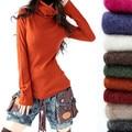 Suéteres de Las Mujeres 2017 Suéteres de Cuello de Cuello Europea Cashmere Blend Knitting Manga del Cuerno Flojo Que Basa La Camisa Géneros de Punto