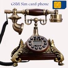 GSM tarjeta SIM teléfono inalámbrico 900 MHz 1800MHz estilo europeo vintage rojo blanco teléfono inalámbrico Casa de oficina en casa hecha de resina