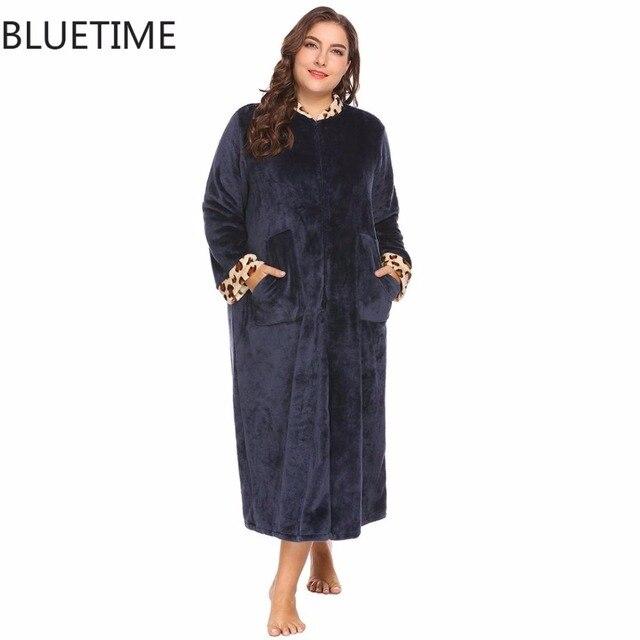 Dressing Gowns Women Fleece Robe Winter Warm Bathrobe Plus Size Sexy