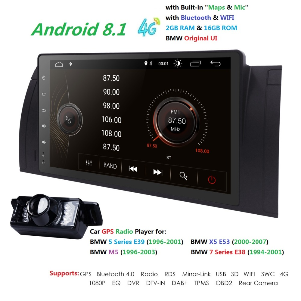 7''Android8.1 1Din Car no dvd player For BMW E39 X5 M5 E38 E53 multimedia audio stereo radio video GPS Navigation headunit 1080P