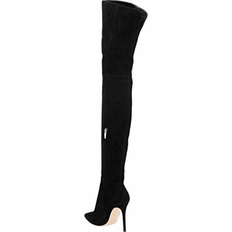 DoraTasia 2017 flambant neuf grande taille 34-48 sur le genou mode mince talons hauts femme sexy chaussures de fête femmes bottes bout pointu
