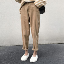 QoerliN New Women's Pants 2019 Women Autumn Winter High Waist Pants Casual Loose Corduroy Cropped Trousers Harem Pant Office Hot(China)