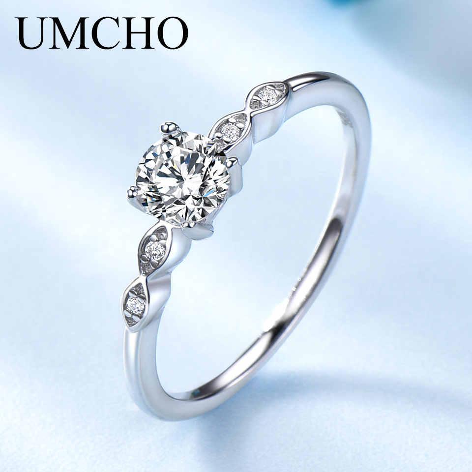UMCHO เงิน 925 เครื่องประดับหรูหราเจ้าสาว Cubic Zirconia แหวน Solitaire แหวนหมั้นของขวัญเครื่องประดับใหม่