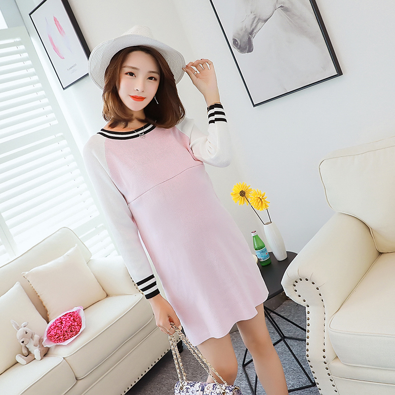 2018 summer knitted cotton maternity dress pregnant women clothing long sleeve pregnancy dresses all match clothes