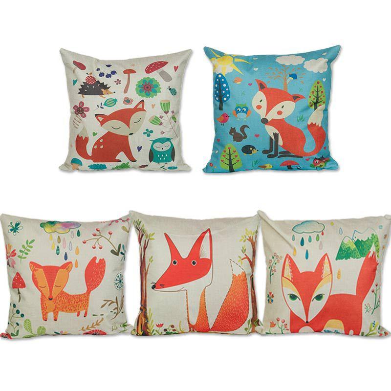 45 45cm Home Decor Sofa Throw Pillow Case Fashion Style Red Fox Cushion Cover Square