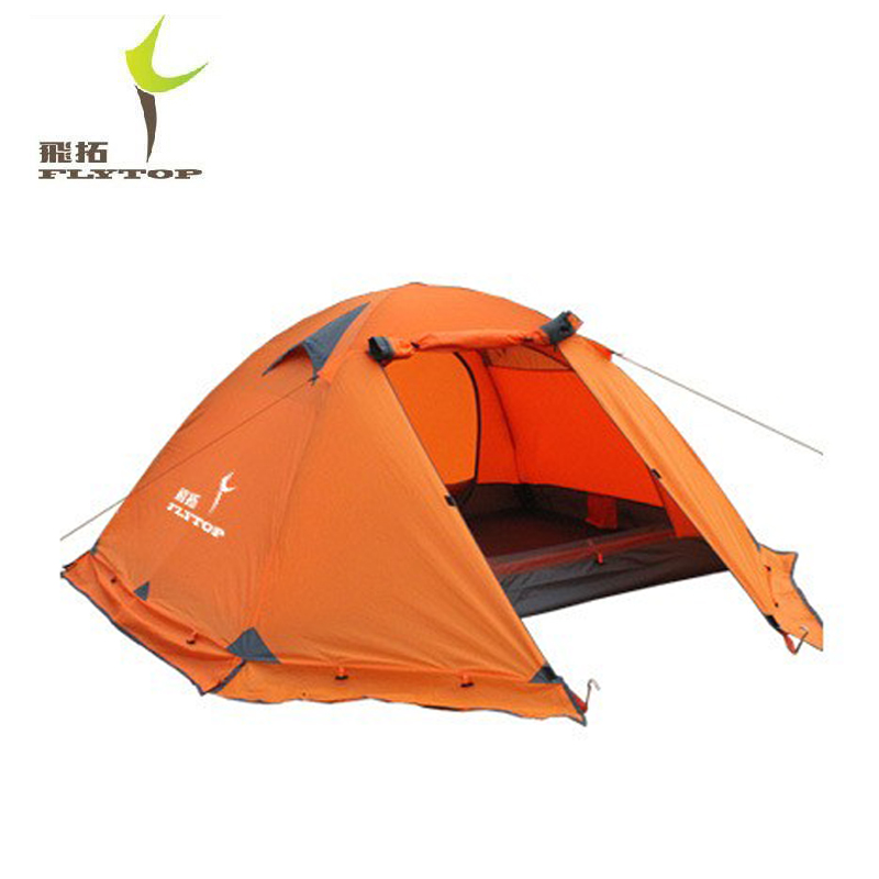 FLYTOP Outdoor Camping Tent For 3 Person Recreation 4season Snow Skirt Winter Beach Tourist Hiking Tents Tenda Camping Equipment waterproof tourist tents 2 person outdoor camping equipment double layer dome aluminum pole camping tent with snow skirt