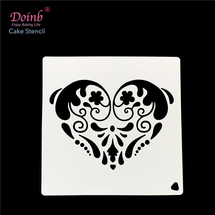 Love Heart Totem Plastic Spray Flower Cake Stencil Pad Mold Strew Duster Cupcake Fondant Decoration Baking Tool Acrylic FQ4041