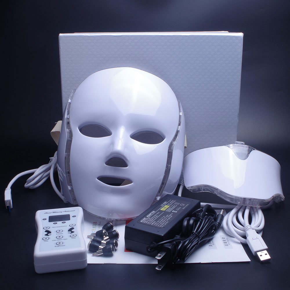 Led Face Mask 7 Color LED Facial Neck Mask with EMS Microelectronics LED Photon Mask Wrinkle Acne Removal Skin Rejuvenation