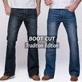Calças de brim dos homens tradição de boot cut perna fit jeans calças flare jeans famosa marca azul profundo masculino