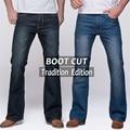 Mens jeans tradition boot cut leg fit flare jeans famous brand deep blue male jeans pants