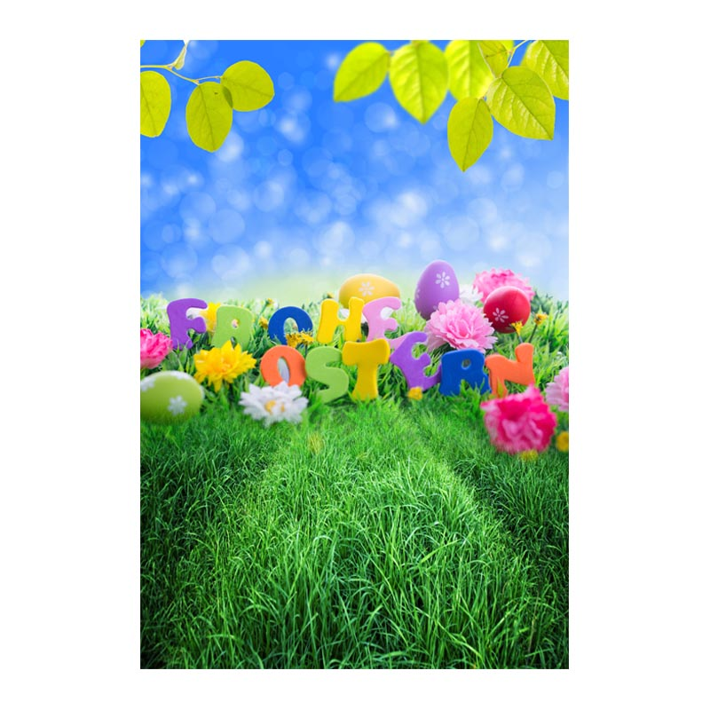 Thin fabric computer Printed photography background Easter eggs blossoms photo backdrop for Studio 5X7ft GE-068