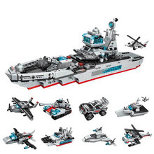 Enlighten 1411 Military 8IN1 Marine cruiser Building Blocks tank Helicopter Model kit Bricks Educational Toys For Children lepin military 20070 1572pcs rc tank building blocks bricks enlighten toys for children birthday gifts brinquedos