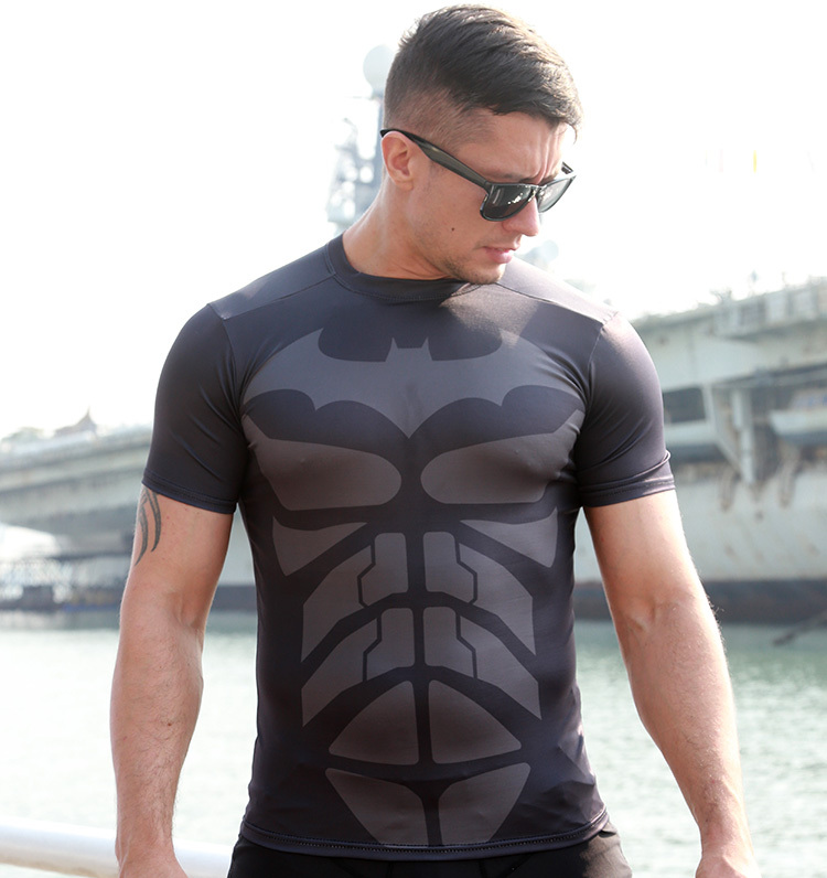 Batman T-Shirt Dark Knight GYM Bodybuilding Tees Shirt Workout Fitness Top High Elastic - Online Store 939240 store