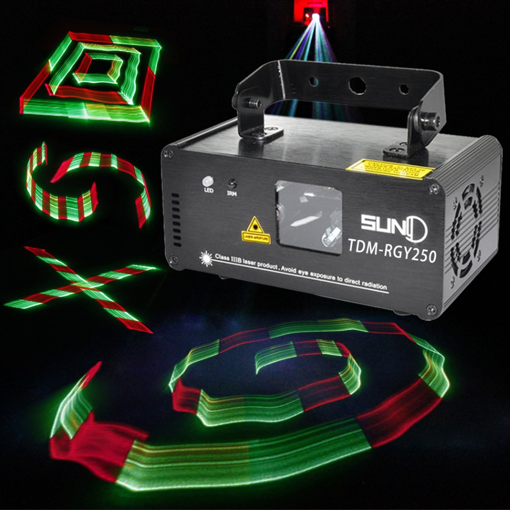 DMX 512 Control 3D Effect Laser Scanner RGY Channel Powerful Colorful Stage Lighting Projector 250mW Party Disco Light Beam