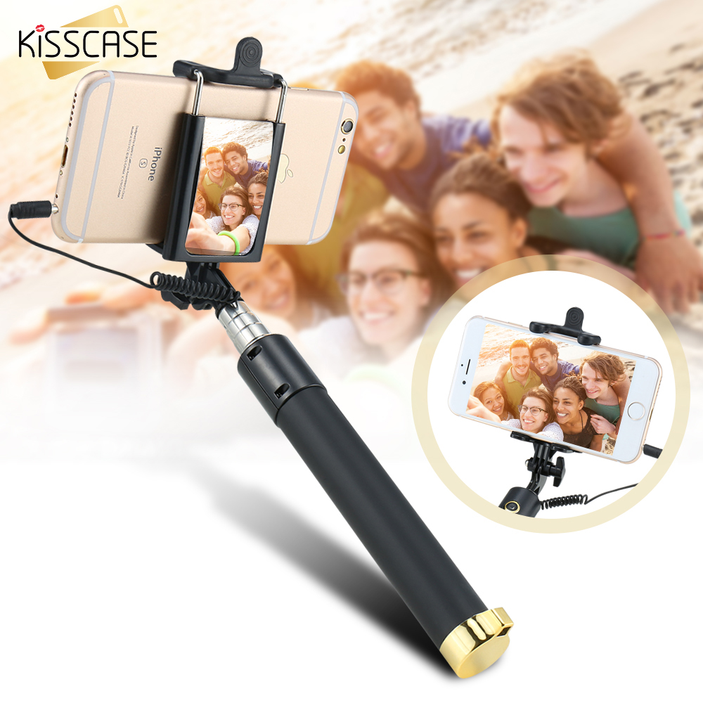 KISSCASE Portable Selfie Stick For iPhone Samsung iOS Android Cellphone Monopod Extendable Selfie Stick Mobile Phone Accessories 2016 new arrival fashion portable mini led selfie flash fill light lamp micro usb for samsung htc huawei android mobile phone