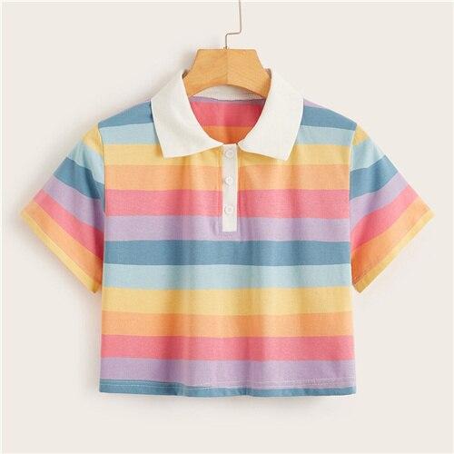 Rainbow Striped Crop Top...