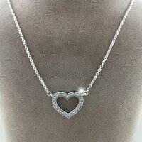 Nuevo 100% 925 Plata Esterlina encantos del colgante collares, moda joyería de Plata corazón collar de los colgantes para las mujeres/de los hombres + cadena + logo