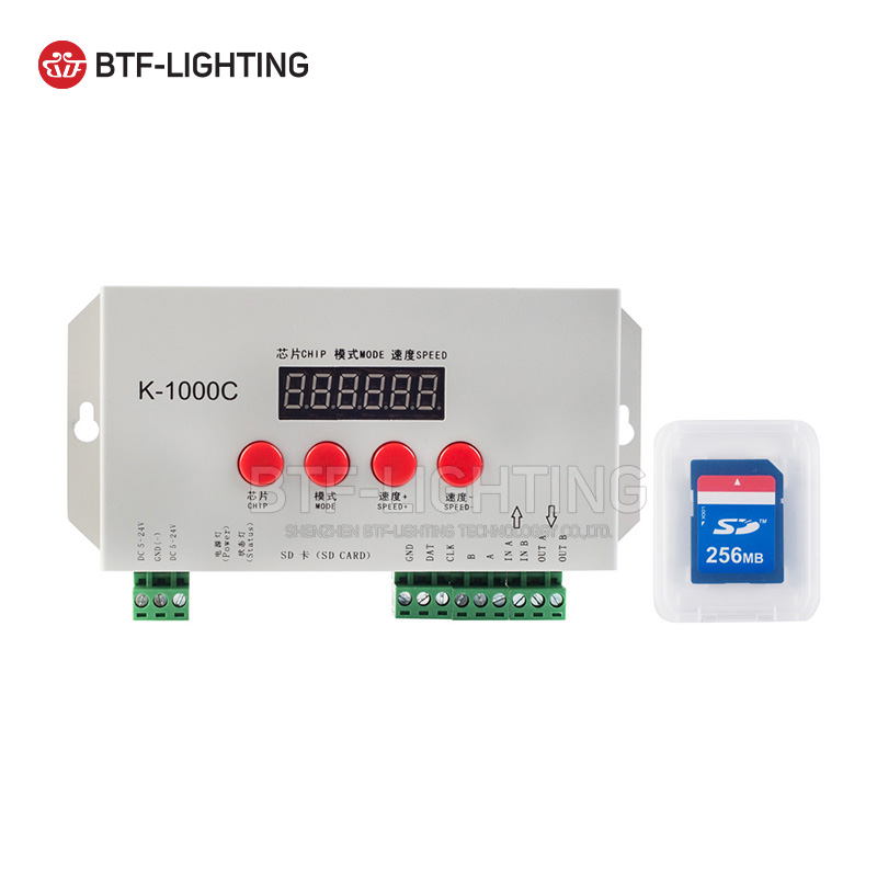 K-1000C(T-1000S updated) ws2812b/ws2811/APA102 Led strip Sd card address programmable Controller 2048 pixels full colur 5-24V arlight контроллер hx 801sb 2048 pix 5 24v sd card