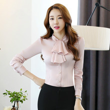 742221bed4d07 Women Satin Bowtie Shirts OL Peter Pan Bow Collar Silk Blouses Solid Color  Single-breasted
