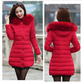 fur collar women coat Slim women cotton-padded jacket female medium-long plus size winter jacket women thickening outerwear