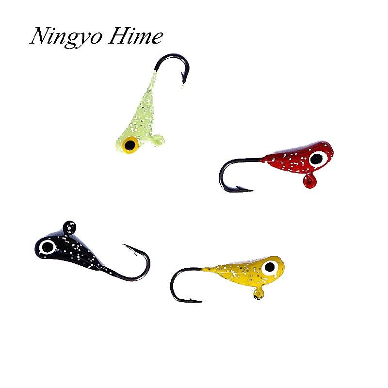 Ningyo hime fishing lures banana shaped 4 pcs mini lead for Ice fishing hooks