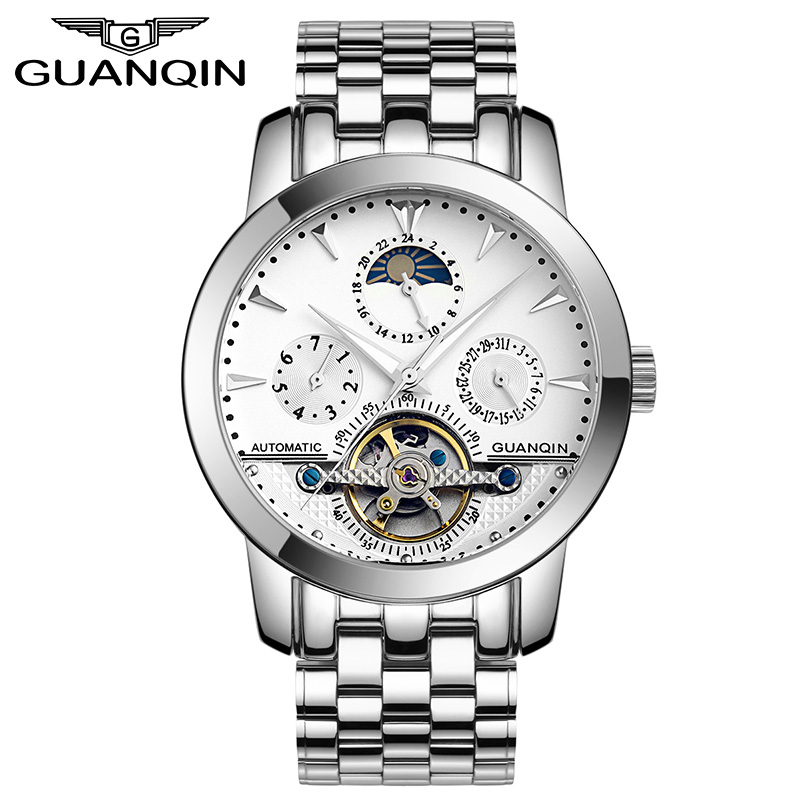 GUANQIN GQ10028 Tourbillon Mens Watches Skeleton Style Automatic Mechanical Clock Luxury Brand Leather Strap Reloj Hombre guanqin gq10028 luxury men s watches tourbillon automatic mechanical leather watch men sport date luminous clock reloj hombre