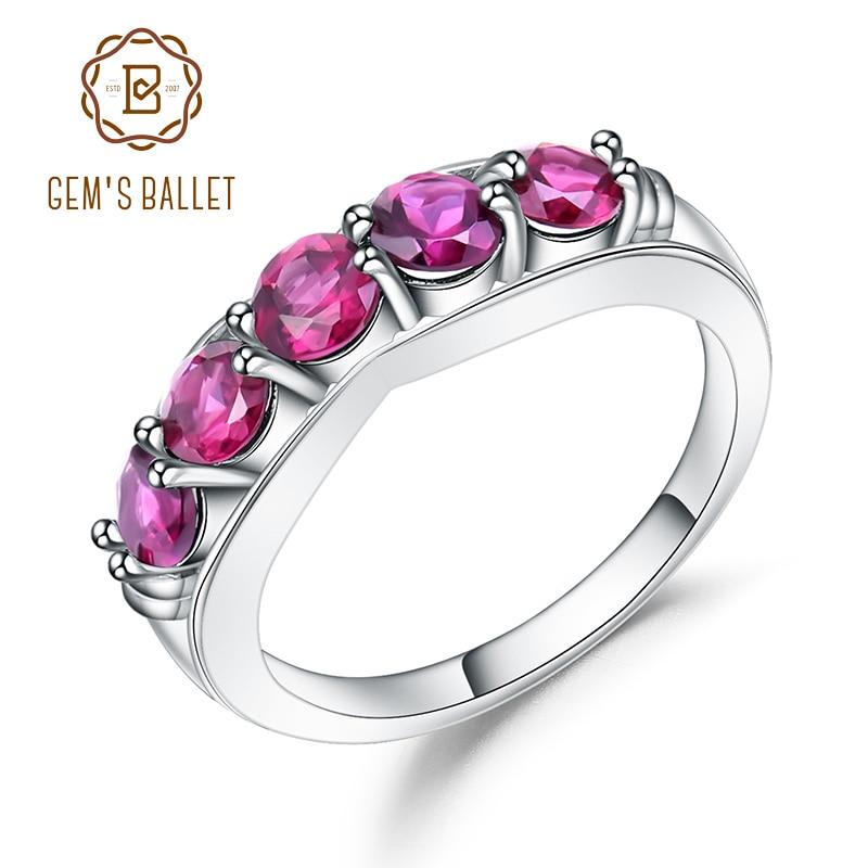 GEM'S BALLET 1.84Ct Natural Rhodolite Garnet Gemstone Ring Solid 925 Sterling Sliver Wedding Band Rings For Women Fine Jewelry