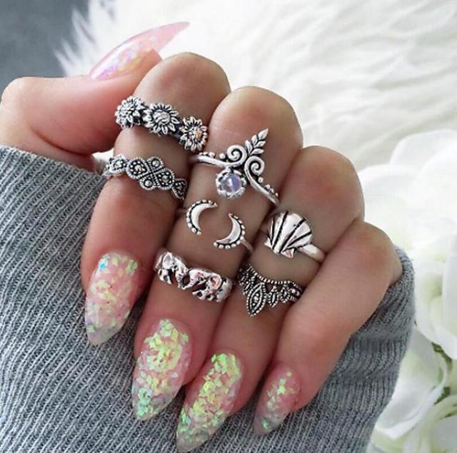 Meyfflin Vintage Knuckle Ring Set for Women Fashion Anel Aneis Bague Femme Stone Silver Midi Finger Rings Boho Jewelry 10pcs/Set