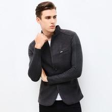2018 New Autumn Winter Fashion Brand Unique Mens Blazer Jacket Woolen Casual Blazer Slim Fit Patchwork Sleeve Men Suit Jacket