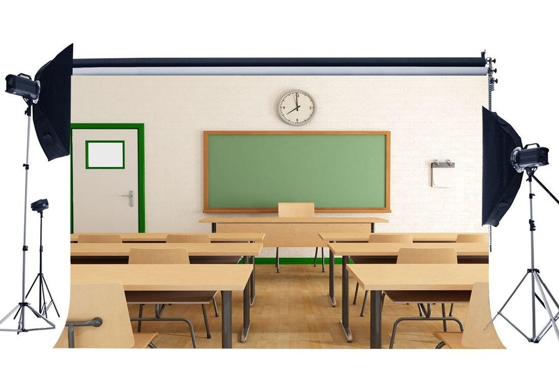 Consumer Electronics Camera & Photo Motivated Back To School Backdrop Classroom Blackboard Clock Desk Chair Vintage Wood Floor Interior Photography Background