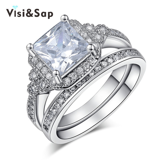 visisap white gold color ring bridal sets big square stone cz vintage wedding ring for women - Big Wedding Ring