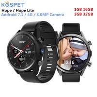 Kospet Hope 4G Smartwatch Phone Android 7.1 Quad Core 1.3GHz 3GB RAM 32GB ROM 8.0MP Camera IP67 Bluetooth Waterproof Smart Watch