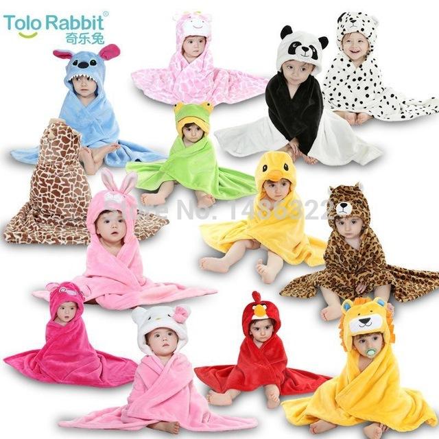 13 Diseños Bebés Baby Boys Girls Capucha Animal modelado la Capa de Dibujos Animados Los Niños Toalla del Cabrito Albornoz Toallas de Baño de Terciopelo Coral