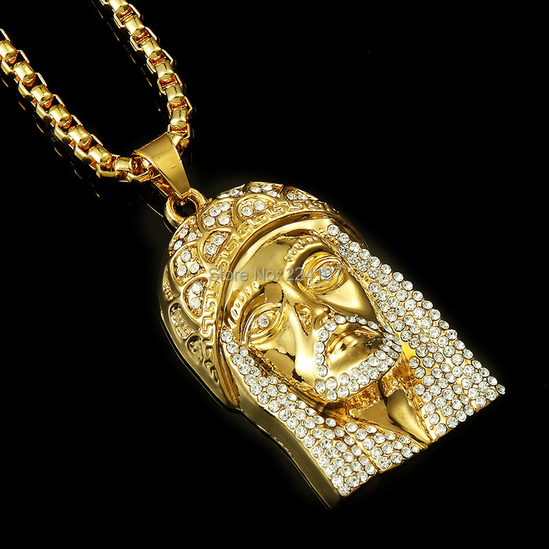 New fashion brand gold filled plated jesus full crystal necklace with gold chain for men hip hop jewelry long necklace